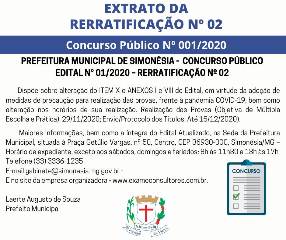 EXTRATO DA RERRATIFICAÇÃO Nº 02